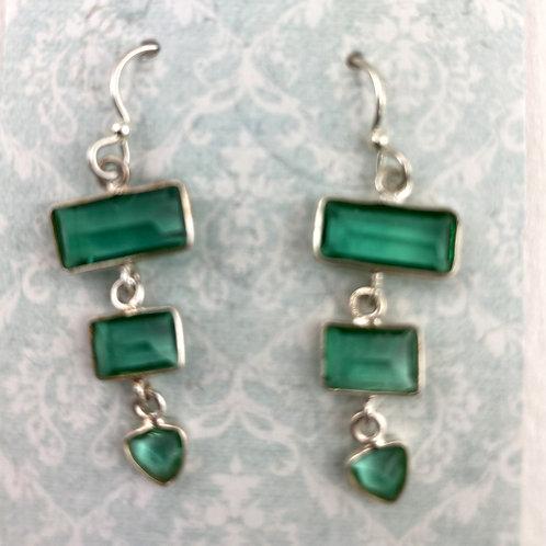 Fancy Faceted Green Quartz Earrings