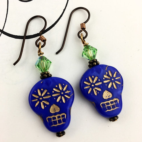 Sugar Skull Blue Earrings
