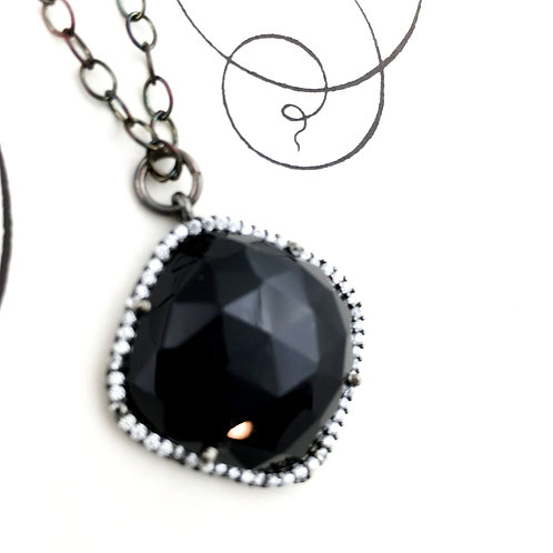 Black Spinel Diamond Antiqued Sterling Silver Necklace