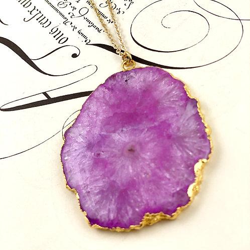 Sliced Quartz Necklace - Pink - Large