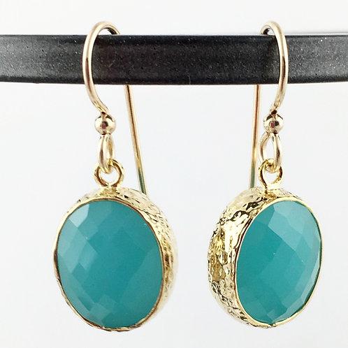 Oval Aqua Crystal Gold Earrings