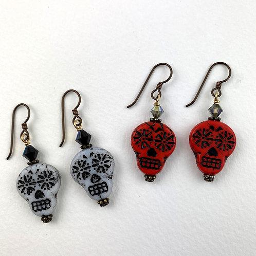 Sugar Skull Earrings - Red and Black