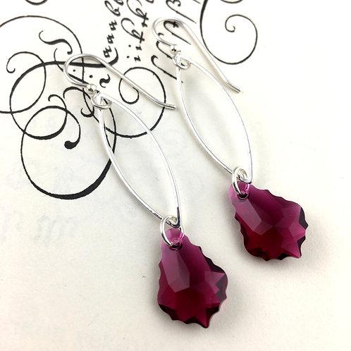 Fuchsia Swarovski Crystal Marquis Chain Earrings