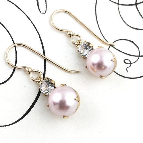 Cherry Pink Vintage Crystal Earrings