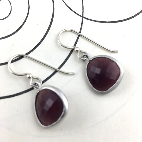 Maroon Crystal Silver Earrings