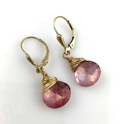 Pink Champagne Wire Wrapped Earrings