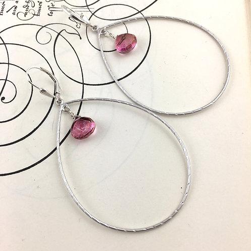 Large Loop Cherry Quartz Earrings