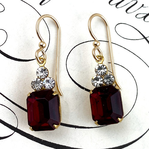 Fancy Ruby Red Vintage Earrings
