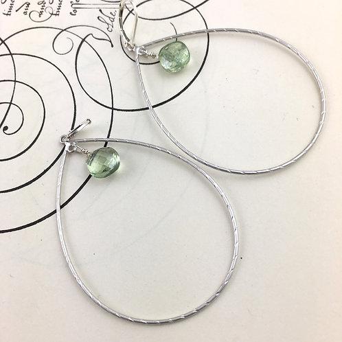 Large Loop Green Quartz Earrings
