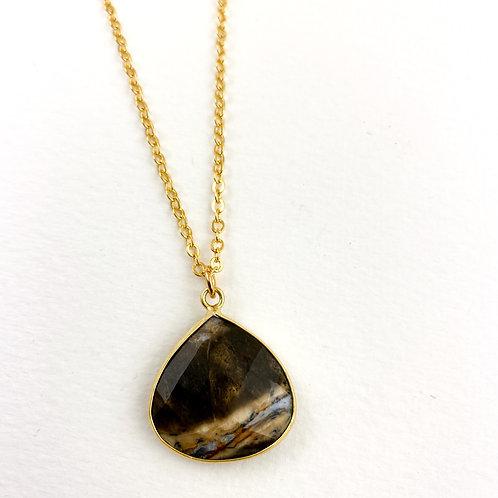 Gray Jasper Pendant Necklace