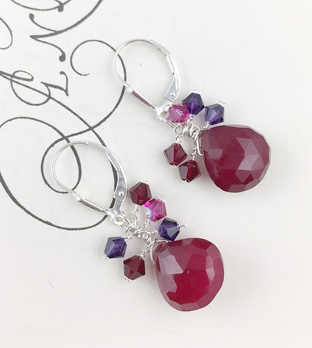 Red Chalcedony Cluster Earrings