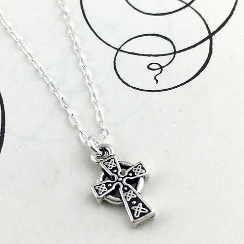 Petite Celtic Sterling Silver Cross Pendant Necklace