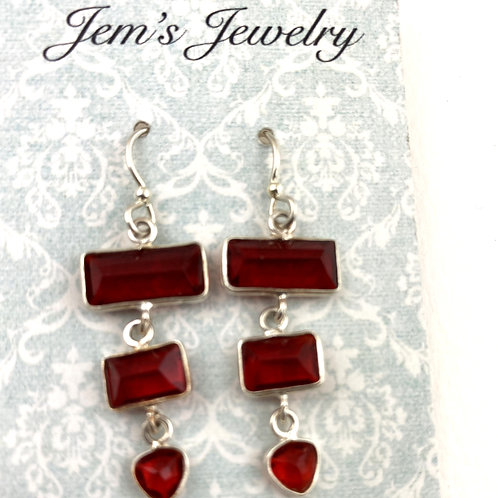 Fancy Faceted Red Quartz Earrings