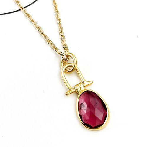 Deep Pink Tourmaline Pendant Necklace