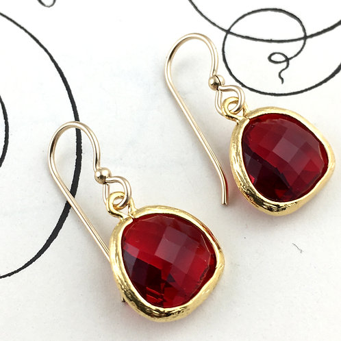 Red Crystal Gold Earrings