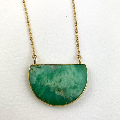 Brilliant Green Jasper Bar Necklace