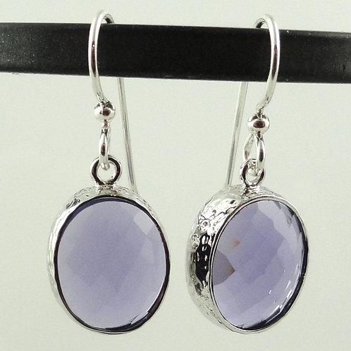 Oval Purple Crystal Earrings