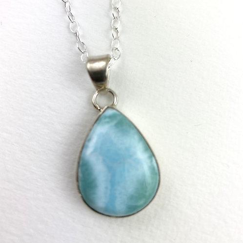 Larimar Silver Necklace - Teardrop