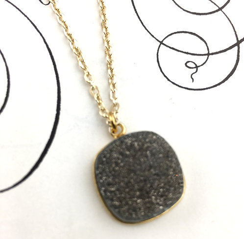 Grey Druzy Pendant Necklace