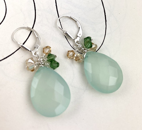 Faceted Chalcedony Cluster Earrings