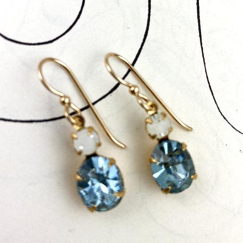 Lilac Crystal Vintage  Earrings