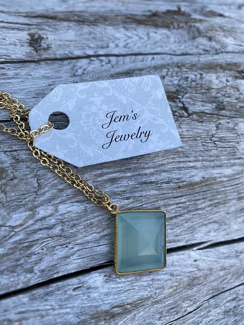 Aqua Blue Chalcedony Diamond Shaped Gold Necklace