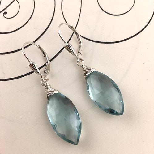 Blue Quartz Diamond Wire Wrapped Earrings
