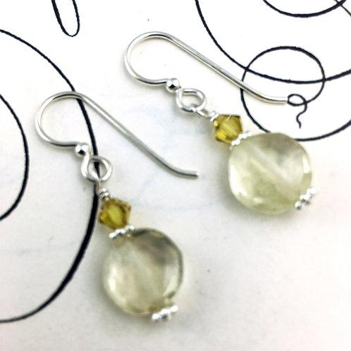 Daffodil Lemon Quartz Round Earrings