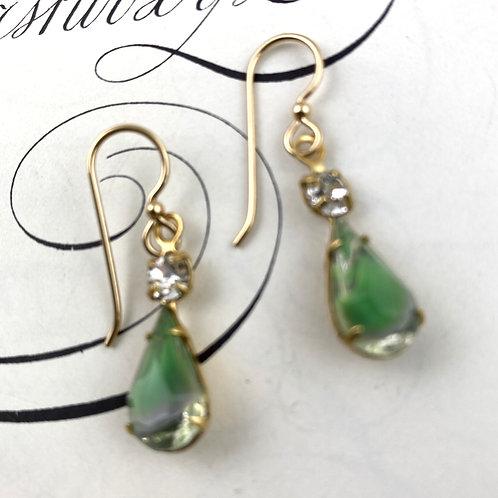 Fancy Seahawk Green Vintage Earrings