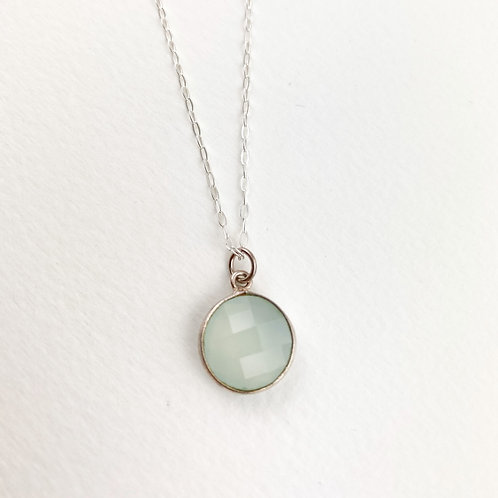 Petite Chalcedony Circle  Necklace - Calm