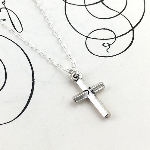 Petite Sterling Silver Cross Pendant Necklace