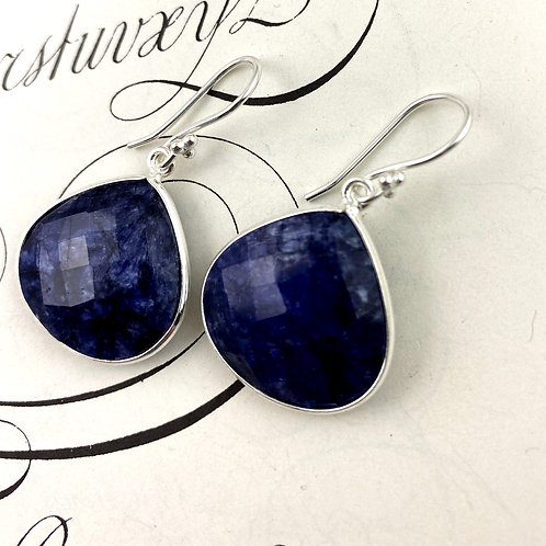 Blue Sodalite Earrings - Silver and gold