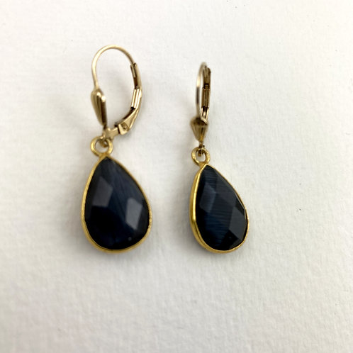 Indigo Blue Gold Earrings