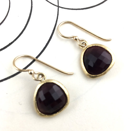 Maroon Crystal Gold Earrings