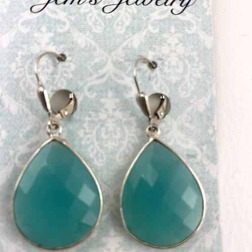 Seafoam Green Large Quartz Earrings