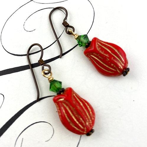 Red Tulip Vintage Earrings