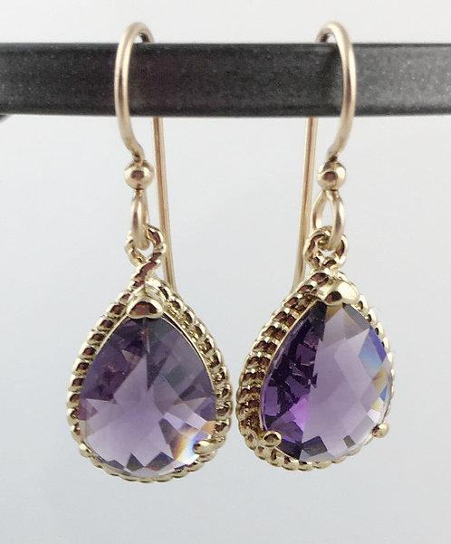 Fancy Purple Teardrop Crystal Earrings