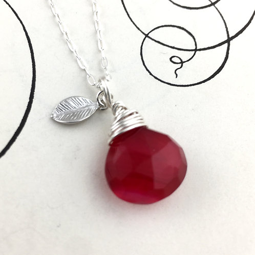 Cherry Red Chalcedony Briolette Necklace