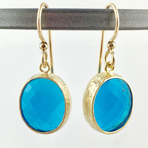 Oval Capri Blue Crystal Gold Earrings
