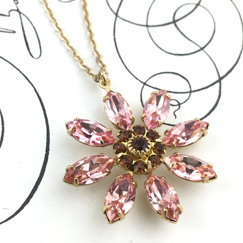 Cherry Pink Swarovski Crystal Daisy Flower Necklace