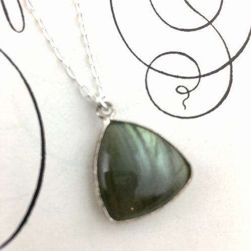 Labradorite Triangle Shaped Pendant Necklace