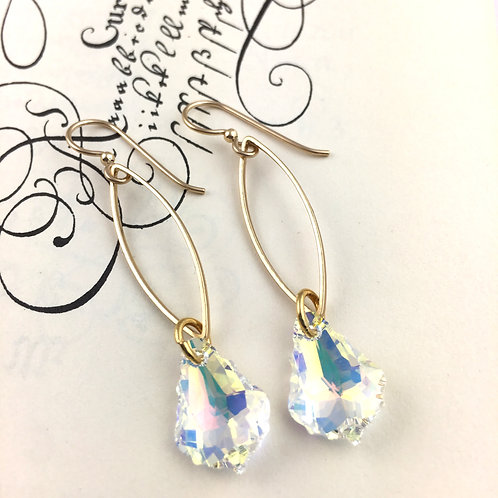 Sparkly Clear Swarovski Crystal Marquis Chain Earrings