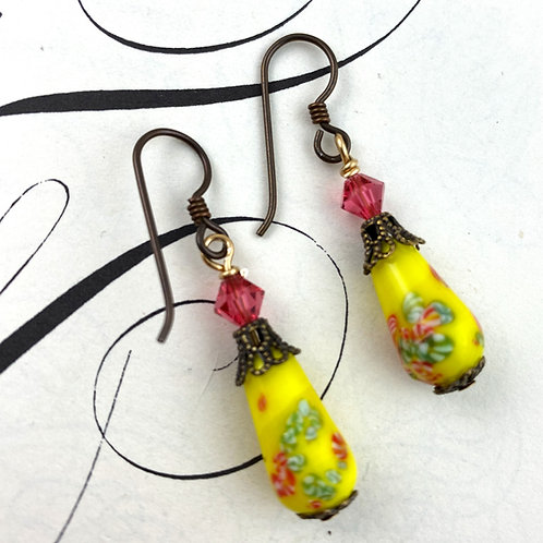 Bright Yellow Vintage Earrings