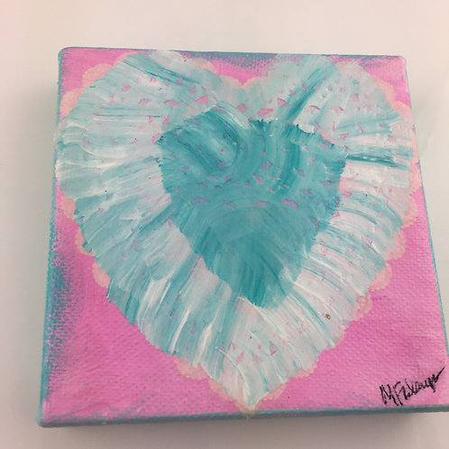 Heart Collage Painting -  Teal Heart