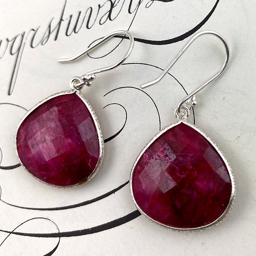 Large Ruby Earrings - silver, antique silver, gold