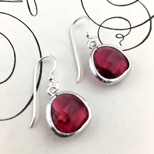 Cherry Red Crystal Silver Earrings