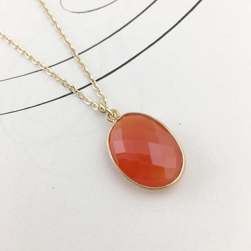 Faceted Orange Carnelian Necklace