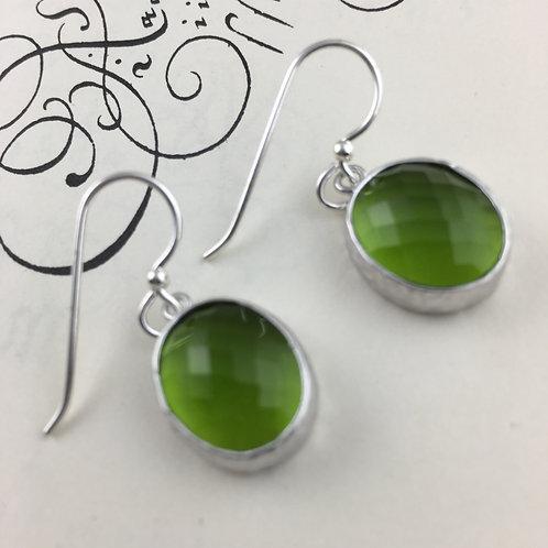 Green Oval Crystal Earrings
