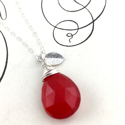 Red Chalcedony Briolette Necklace