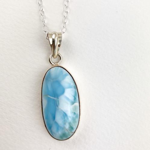 Larimar Silver Necklace -Oval